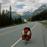 Bike Tourist - Somewhere Between Banff and Jasper, Alberta, Canada - Summer 1990
