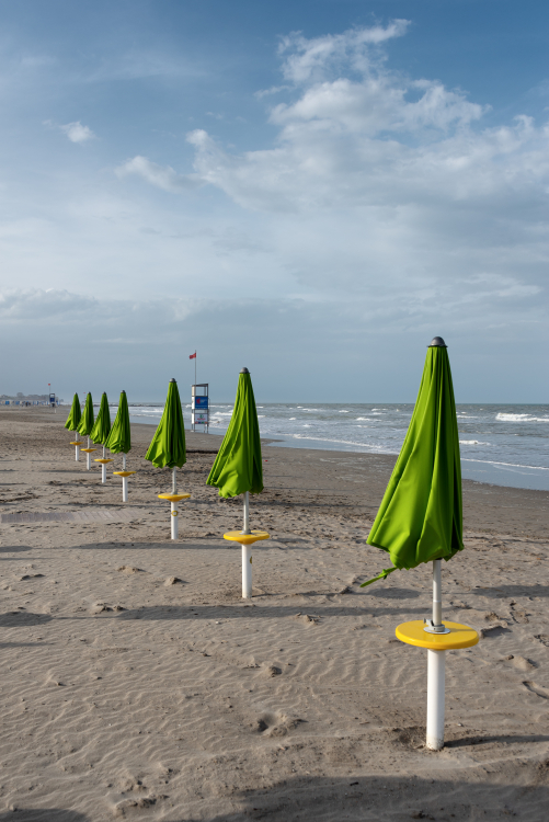 Beach Umbrellas - Milano Marittima, Cervia, Ravenna, Italy - April 24, 2019