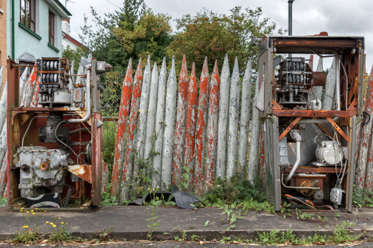 Rusty gas pumps - Dervock, Northern Ireland, UK - August 17, 2017